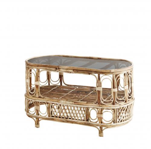 Oval Bamboo soffbord mörkt glas MADAM STOLTZ Beleco